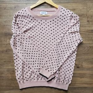 🌟3/$30   ELLE Soft & Stretchy Heart Print Sweater